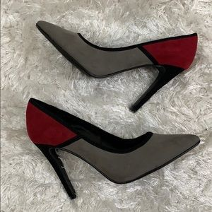 Chinese Laundry colorblock pumps heels faux suede
